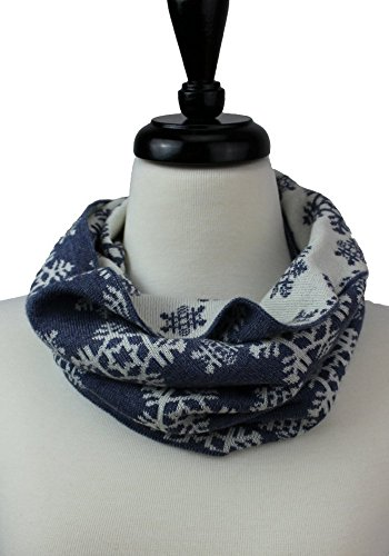 100% Merino Wool Cowl Scarf | Snowflake | Double Knit | Reversible Cowl | Blue and Cream