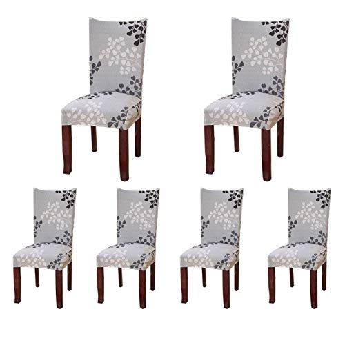 SoulFeel 6 x Soft Spandex Fit Stretch Short Dining Room Covers with Printed Pattern, Banquet Chair Seat Protector Slipcover for Home Party Hotel Wedding Ceremony, Pack of 6, Style 24 (Cover Dining Chairs)
