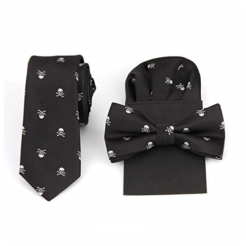Hello Tie Unisex Skull & Crossbones Skinny Tie with Pocket Square and Bow tie Sets, White Skull, One Size