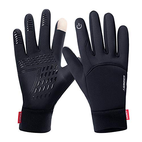 Stretch Windproof Gloves - FengNiao Winter Warm Gloves Men Women Touchscreen Windproof Outdoor Running Skiing Driving Thermal Gloves(Black)