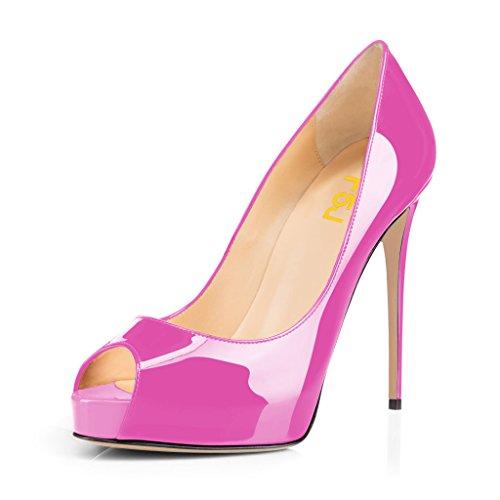 Fsj Vrouwen Sierlijke Peep Toe Pumps Hoge Hakken Met Platform Slip Op Party Prom Schoenen Maat 4-15 Ons Hot Pink-patent