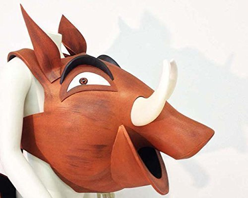 Theatre King Costumes Lion (Pumbaa costume mask for Lion King and Lion King Jr. Pumba warthog HEAD ONLY, for adults kids, children. Hand made by Tentacle)