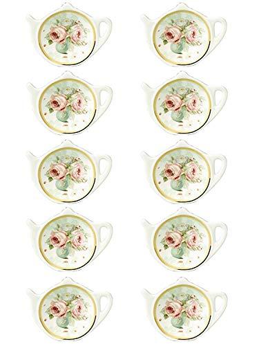 (RockTrend Vintage Rose White Porcelain Ceramic Teapot-Shaped Tea Bag Holder Tea Bag Coasters, Spoon Rests; Classic Tea Saucer Seasoning Dish with Flower Trim Gold Rim (Flower A, 10 PCS))