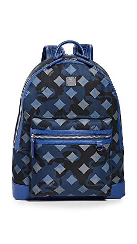 MCM Mens Dieter Munich Lion Camo Nylon Backpack 40 Estate Blue One Size