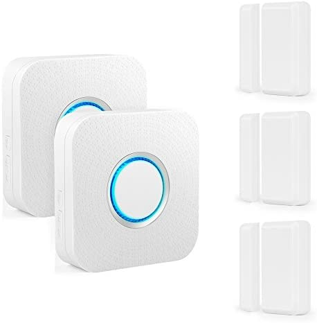 Wireless Door Sensor Alarm Chime BITIWEND Home Security Window Entry Alert With Operating Range 600 feet/52 Chimes For Home/Garage/Shop (3 Door Sensors & 2 Receiver)