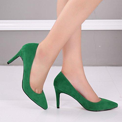 Women's Pumps Toe Shoes Velvet Green Heels Pointy High SAMSAY Dress pqwdap