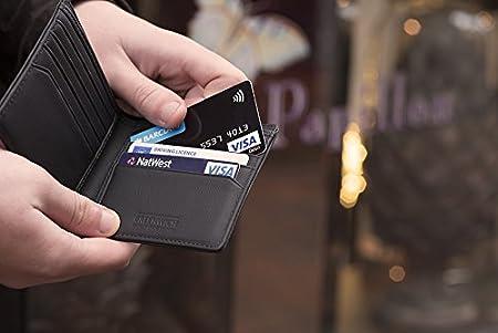 Greenwich Nelson - Cartera hecho a mano Funda de piel tipo cartera con anti-RFID para hombres (negro o azul) negro negro: Amazon.es: Electrónica