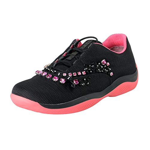 (Prada Women's Black Studs Decorated Fashion Sneakers Shoes Sz US 10.5 IT 40.5 )