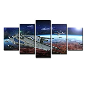 CNUSER Wall Art HD Printed Star Wars The Spacecraft Space Painting Drawing on Canvas Printing Decoration Room Poster Picture for Home Decor Framed Ready to Hang
