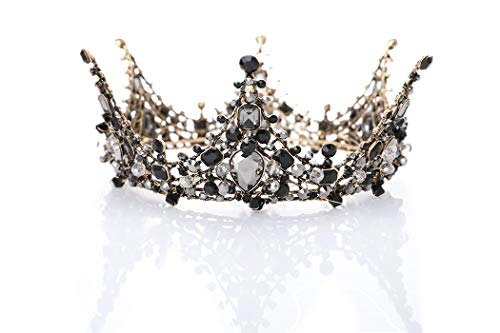 LittleB Baroque Bridal Crown Rhinestone Wedding Tiaras Boutique Headdress. (Black) ()