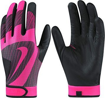 NIKE HYPERDIAMOND EDGE Teeball/Baseball/Softball Youth Unisex Batting Gloves, Black/HyperPink, Youth Unisex Medium