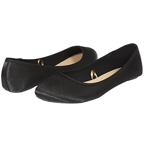 Sara Z Womens Fashion Casual Slip-On Classic Satin Ballet Flat Shoes Size 11 Black