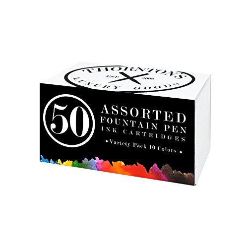 Thornton's Luxury Goods Short Standard International Fountain Pen Ink Cartridges, Pack of 50 (Assorted Colors)