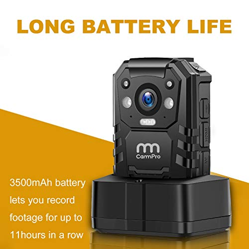 1296P HD Police Body Camera,64G Memory,CammPro I826 Premium Portable Body Camera,Waterproof Body-Worn Camera with Night Vision,GPS for Law Enforcement Recorder,Security Guards,Personal Use