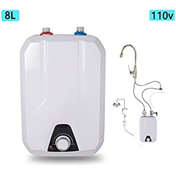 Zinnor Electric Tankless Hot Water Heater For Kitchen Bathroom Household,  8L 1500W/110V Electrical