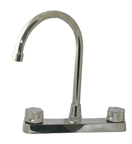 Chapado en cromo superficie–llave de alto boquilla de acero inoxidable llave de la cocina 20.3cm agujero central sin...