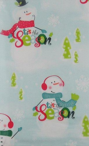 [Tis the Season Snowman Winter Wonderland Vinyl Flannel Back Tablecloth (52