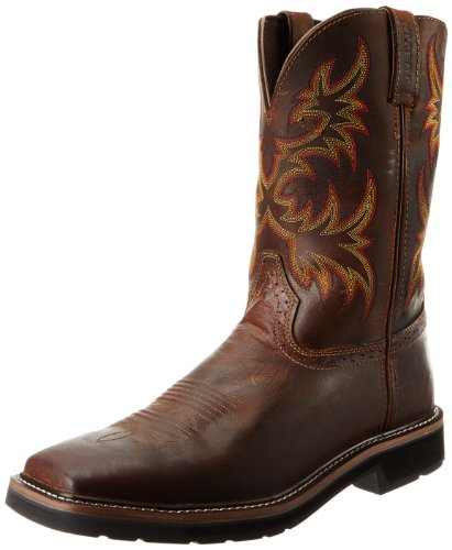 Boots Cowboy Boot Tip (Justin Original Work Men's Stampede Pull On Square Toe, Rugged Tan, 11 D US)