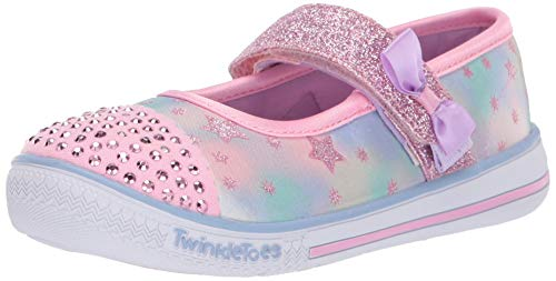 Skechers Kids Girls' Twinkle Play-Starry Sparks Sneaker, Pink/Multi, 9 Medium US - Toes Twinkle