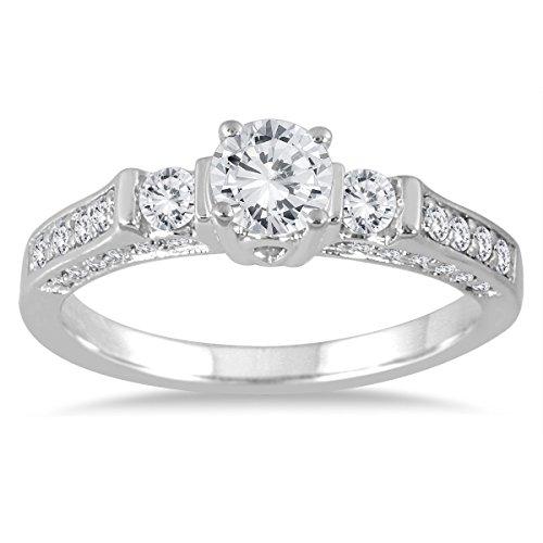 Tw Three Diamond Anniversary Ring (1 Carat TW Three Stone Estate Styled Diamond Ring in 14K White)