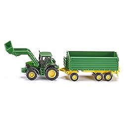 1:87 John Deere Tractor With Loader & Trailer