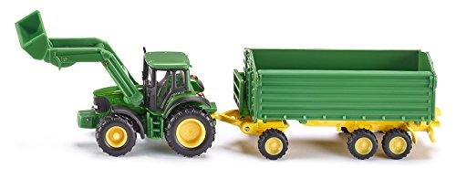 1:87 John Deere Tractor With Loader & Trailer