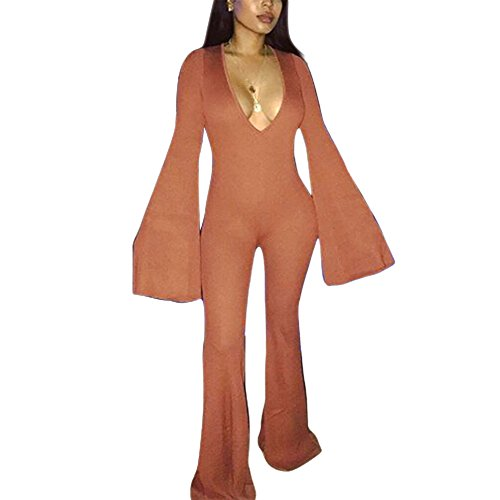 Orange Jumpsuit Women Costume (Joseph Costume Women's Sexy Deep V Neck Flare Sleeve Wide Leg Long Pants One Piece Jumpsuit Romper Orange S)
