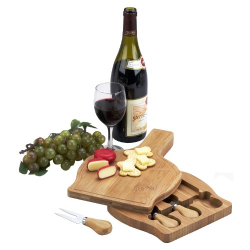 Picnic at Ascot Chianti Bamboo Cheese Board Set with 3 Tools