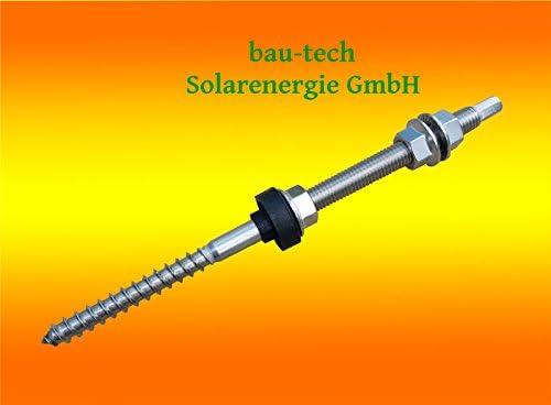 5 Stück Stockschraube Edelstahl A2, M10 x 200 mit Sechskant - Kopf Antrieb von bau-tech Solarenergie GmbH
