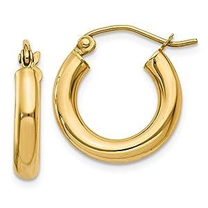 14k Gold Polished 3mm Lightweight Round Hoop Earrings (0.63 in x 0.12 in)