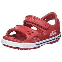 Crocs Crocband II Sandal Kids, Sandalias Unisex Niños, Rojo (Pepper/Blue Jean), 23/24 EU