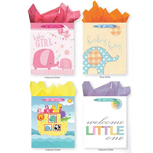 Pack of 4 Large Baby Shower Gift Bags. Assortment of Foil and Glitter Embellishments Girl Boy Unisex]()