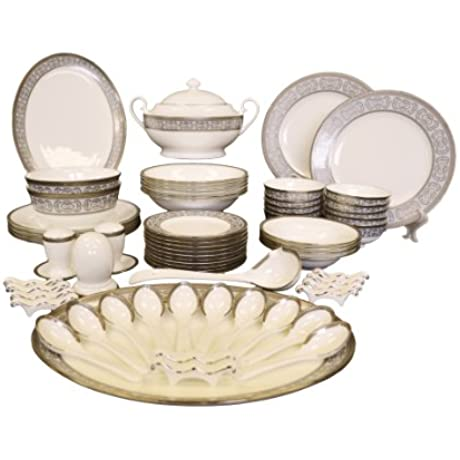 Auratic CP 06 KY125 66 Piece Chinese Dinner Set White