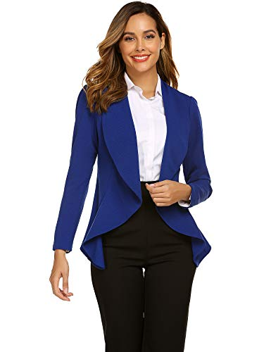 Jersey Long Sleeve Blazer - Beyove Women's 3 4/Long Sleeve Lightweight Open Front Cardigan Blazer Jacket