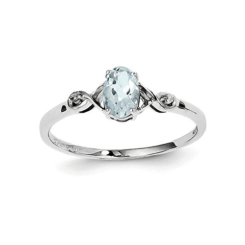 Sterling Silver Rhodium Plated Diamond and Aquamarine Oval Ring Color H-I, Clarity SI2-I1