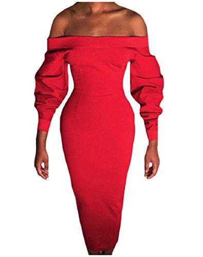 Épaule Coolred Femmes Manches Longues Occasionnels De Longueur Genou Robe Mi Rouge