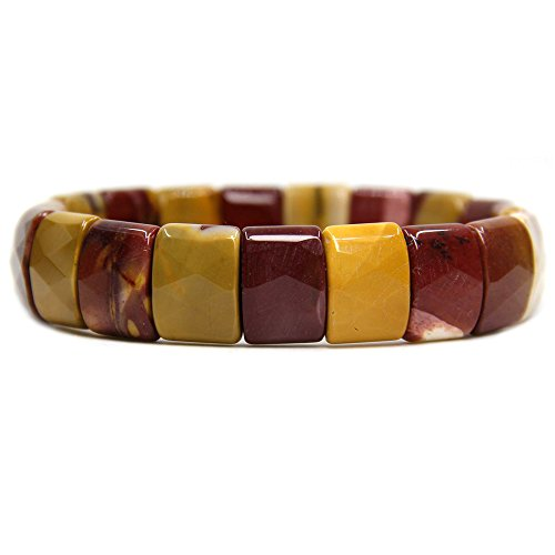 Amandastone Mookaite Jasper Genuine Semi Precious Gemstone 15mm Square Grain Faceted Beaded Stretchable Bracelet 7