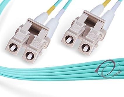 Aqua 15-Meter Lynn Electronics LCSC-OM4-15M LC-SC 50//125-10 Gig OM4 Duplex Multimode Fiber Optic Patch Cable