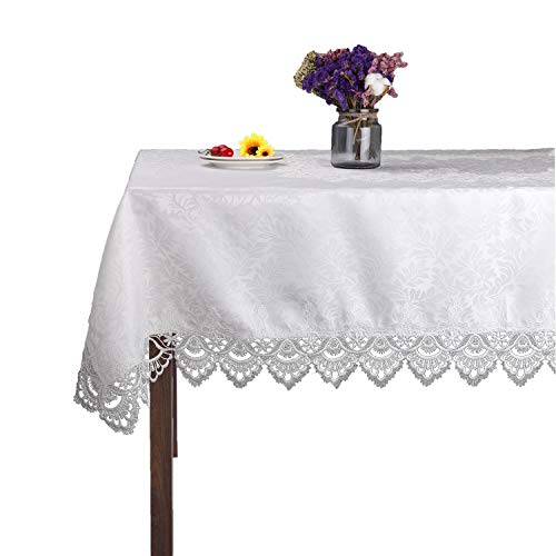 White Rectangle Lace tablecloths for Wedding Party Home and Kitchen -