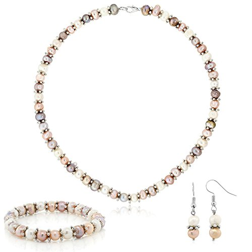 Gem Stone King Pink & White Cultured Freshwater Pearl Necklace Earrings Bracelet Set 7-8MM 18inches ()