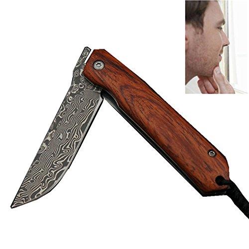 SMITH CHU Professional Classic Wooden Straight Edge Razor for Men - Durable Men's Manual Shaver Shavette - Damascus Steel Portable Shaving Razor Knife,Red Sandalwood Handle with String ()