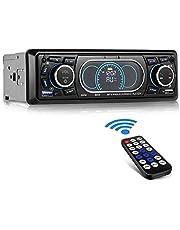 CompraFun Car Radio Autoradio Bluetooth,Stereo Hands-Free Radio Quick Charge 12V MP3 Player Dual Control Memory Function Compatible MP3 / FM / TF / AUX / USB (SWM-8809)