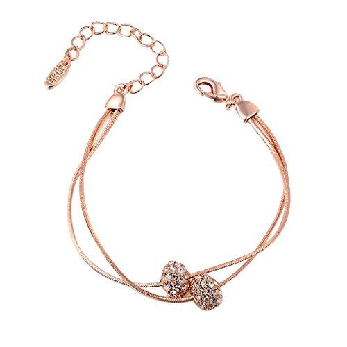 (MonkeyJack Women Double Strand Snake Chain Bracelet Czech Rhinestone Round Ball Bead Charms - Rose)