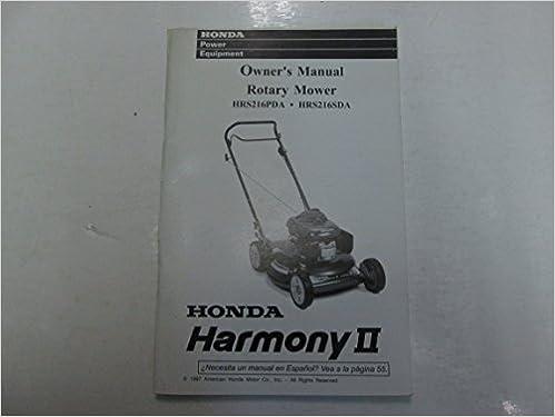 1998 honda hrs216pda hrs216sda harmony ii rotary mower owners manual stains  worn: honda motor co : amazon com: books