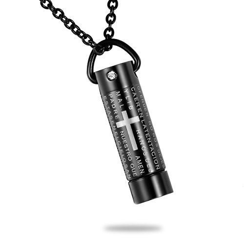 HooAMI Black Lord's Prayer Cross Cylinder Cremation Jewelry Urn Necklace Keepsake Memorial Ashes Jewelry (Dia Cross Necklace)
