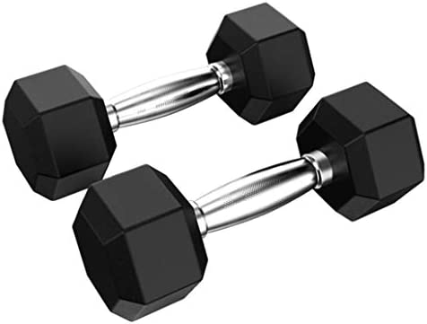 Barbell Hex Dumbbell Weights, Barbell Set of 2 or 1 Hex Rubber Dumbbell with Metal Handles for Strength Training Weight Loss Workout Bench Gym Equipment Home 10lb, 20 Lb, 30lb, 40lb, 50lb (50, 1PC) 2