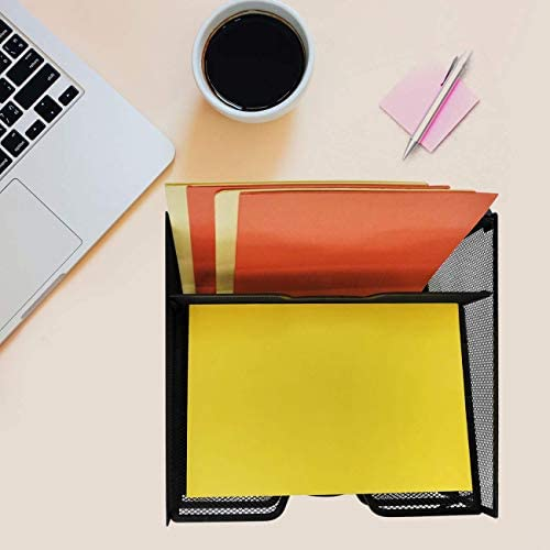 Pack of 2 Desk File Organizer with 3 Paper Trays and 1 Vertical Upright Compartment Black ProAid Mesh Office Desktop Accessories Organizer