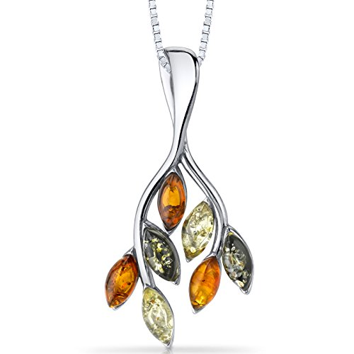 Baltic Amber Leaf Pendant Necklace Sterling Silver Multiple Colors ()