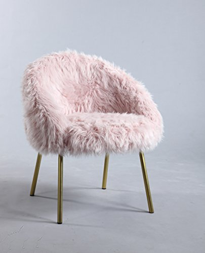 Furniture World Polly Faux Fur Accent Chair, Pink - Fashionable faux fur Glossy metal legs Contemporary yet retro appeal - living-room-furniture, living-room, accent-chairs - 41q7QEtzTfL -