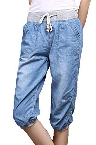 Con Bolsillos Elástica 4 Claro Trabajo Casuales Pantalones 3 Azul De Cintura Laterales Vaqueros Elásticos Mujeres YwSR0Cq